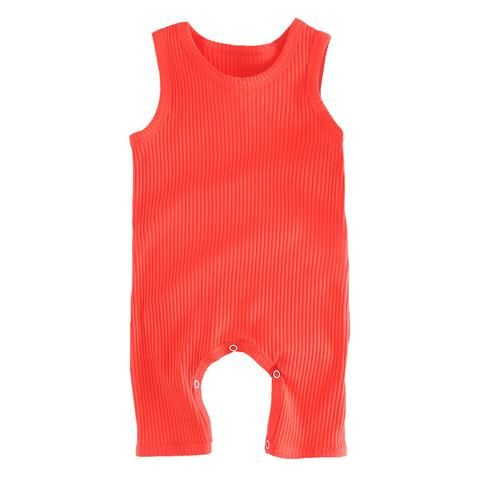 Summer 0-3y Infant Kids Baby Girl Boys Bodysuit Solid Sleeveless Button Jumpsuit Outfit Clothes Boys' Baby Clothing