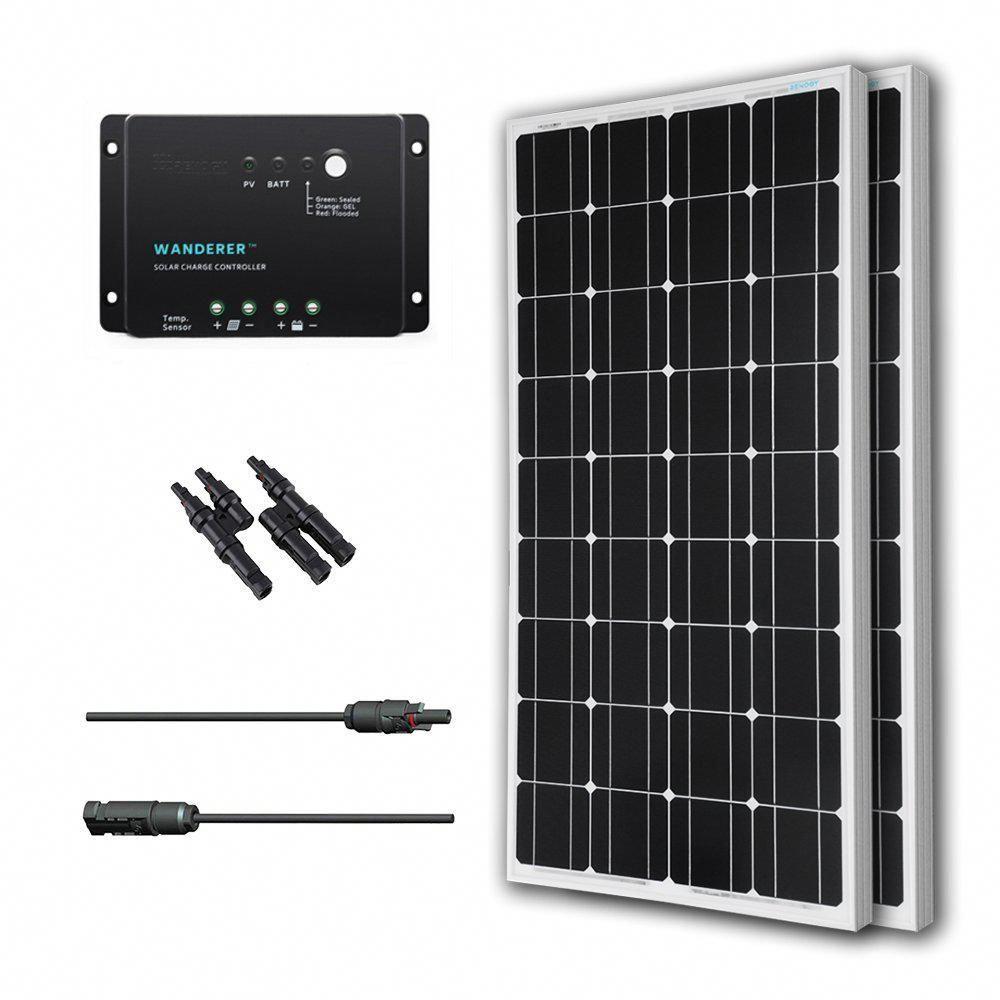 Renogy 200 Watt 12 Volt Monocrystalline Solar Bundle Off Grid Kit With 30 Amp Charge Controller Solarpanel In 2020 Solar Energy Panels Solar Panels Solar Panel System