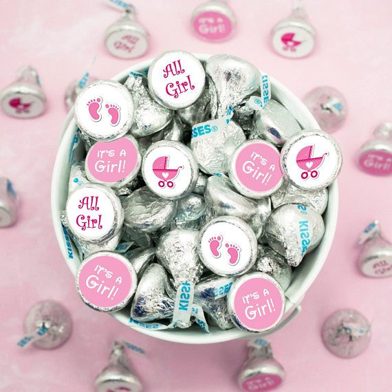 Its A Girl Hershey Stickers Baby Shower Kisses Hershey Kiss