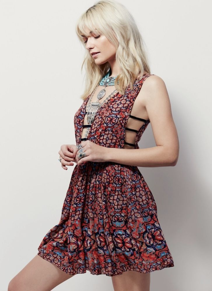 NWT Free People FP One Fit Flare Floral Printed Swingy Open Back - free p&l template
