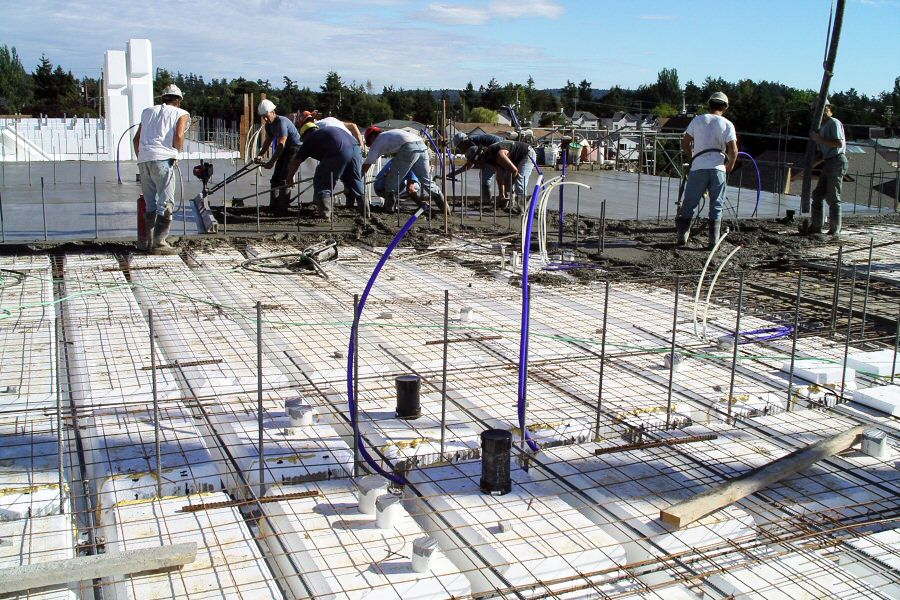 Concrete Pour Of Insulated Concrete Forms For Floors And Roofs Deck Installation Building A Deck Roof Deck