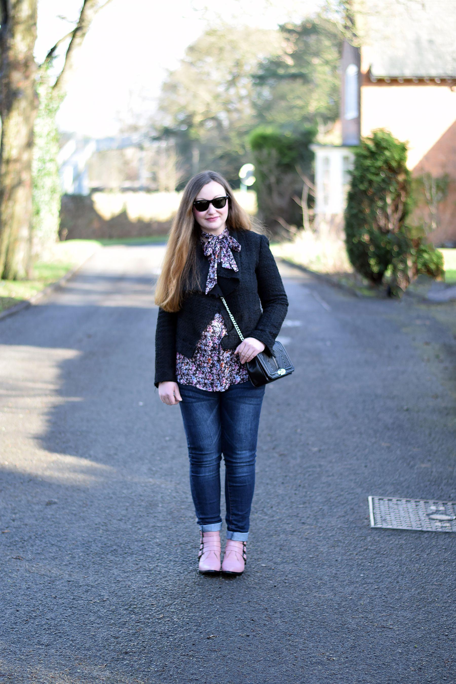 0eb598af1cb0c Zara black tweed jacket with floral bow tie blouse