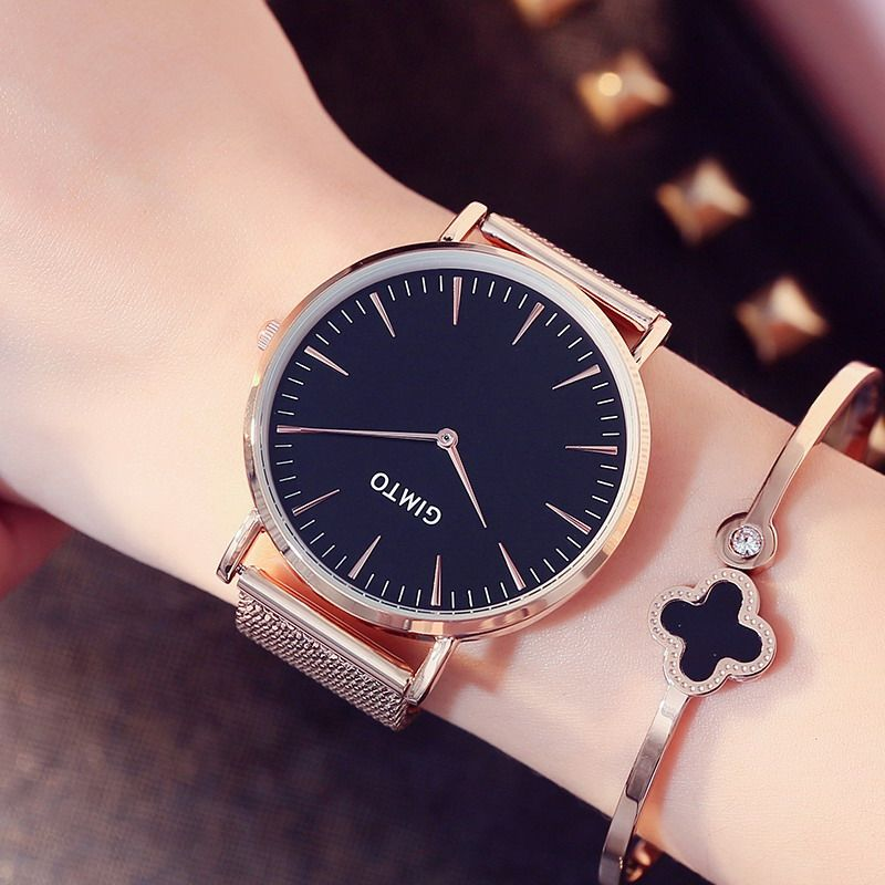 Lady Fashion Bracelet Wrist Watch Quartz Women Lover Top Brand Gold Black  Dress Clock Relogio Feminino Montre Femme Hodinky 36 5ea6447990e