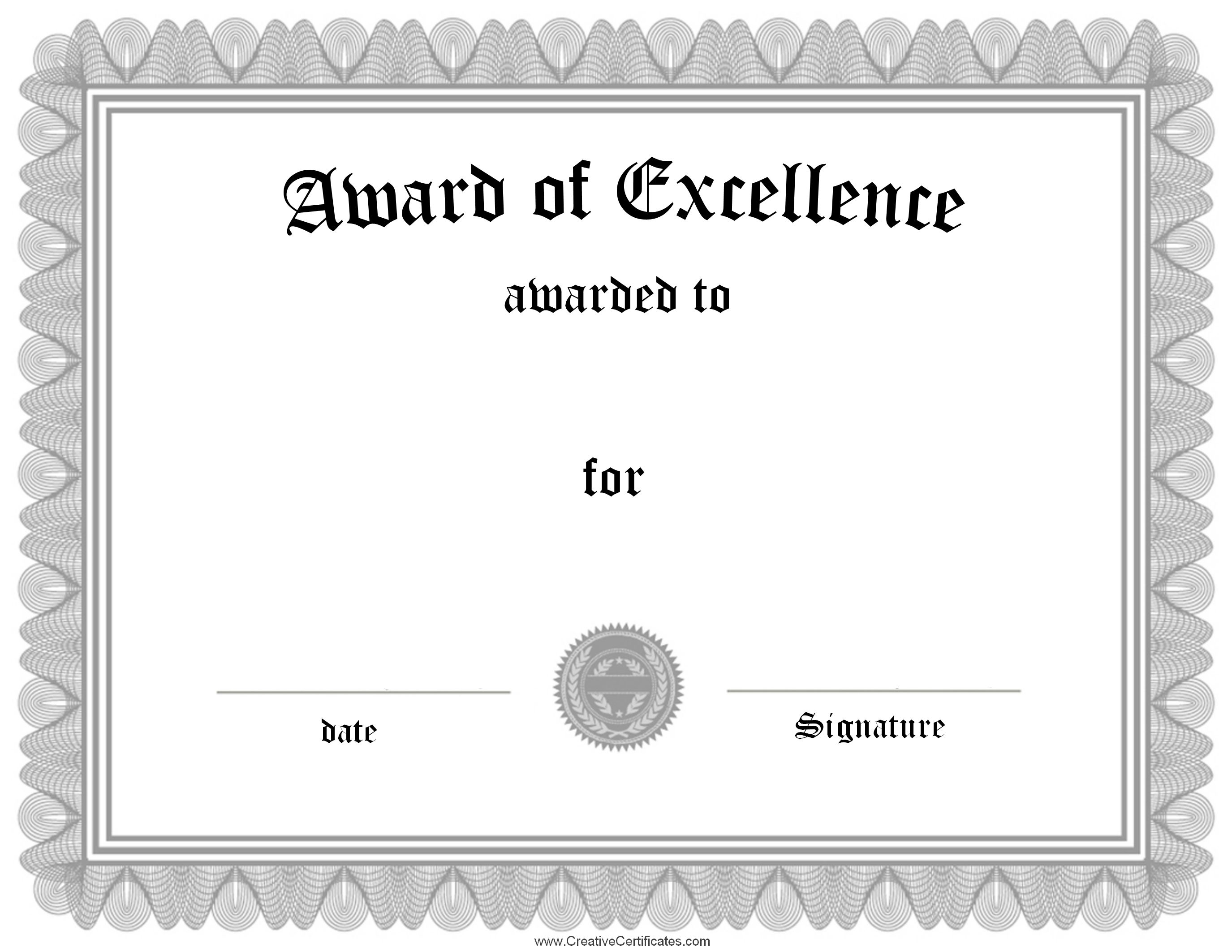Httpcreativecertificatescertificates achievement certificate of excellence template sample example format 1betcityfo Images