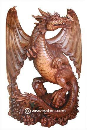 Wooden Dragon | ... dragon carving 70 cm winged dragon ...