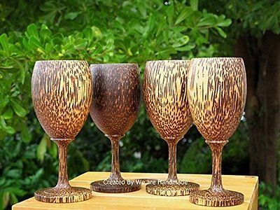 Set 4 handmade #browns and wood thai art wooden wine #glass ##glasses gift,  View more on the LINK: http://www.zeppy.io/product/gb/2/201400627414/