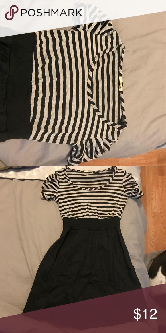 d9cb3bd39e0e BeBop striped dress Grey and black striped BeBop dress- elastic waistband  and ruffled short sleeves