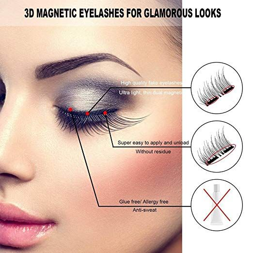 a6c29bc7da9 Amazon.com : Dual Magnetic False Eyelashes, Coolgoo 3D Fiber Magnetic Lashes  Extension- Best Reusable and Easy to Apply, Long Lasting Natural and ...