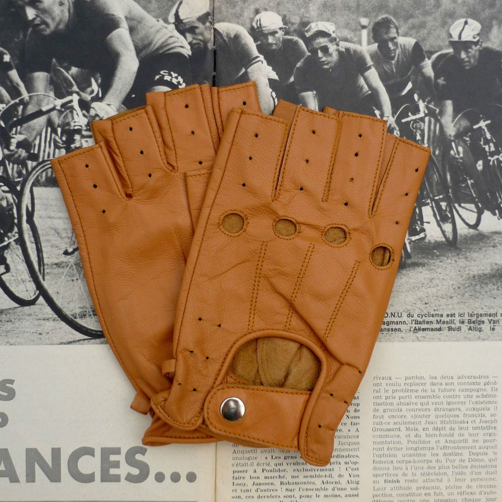 Ladies leather cycling gloves - Vintage Retro Style Full Soft Lambskin Leather Cycling Gloves Mitts In Tan