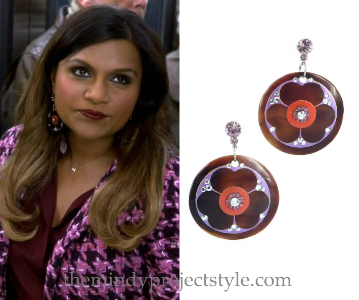"""Mindy's art deco flower earrings complement the colors of her """"Fertility Bites"""" outfit perfectly!"""