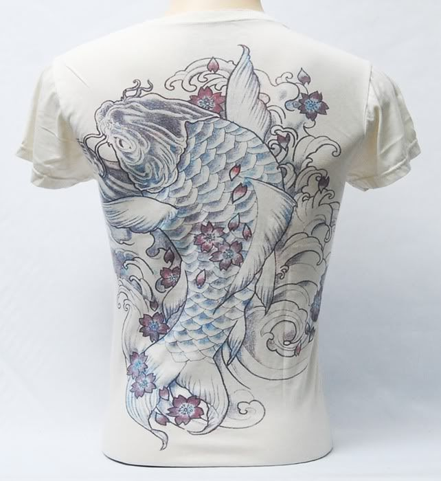 Giant koi fish yakuza tattoo t shirt v neck short sleeve for Koi fish dress