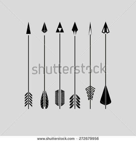 Six black arrows - stock vector