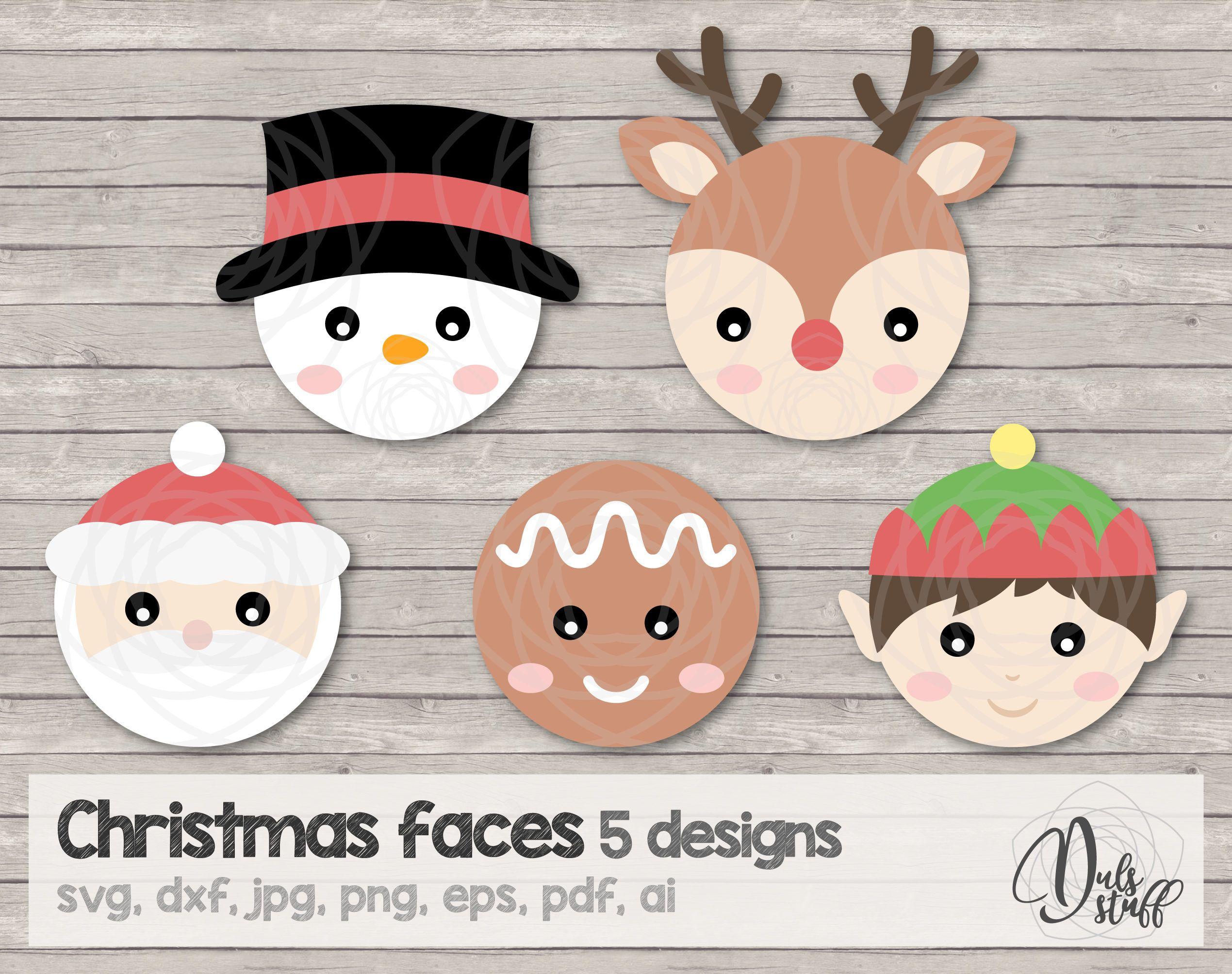 Christmas Faces Svg, Christmas Faces Cricut, Santa
