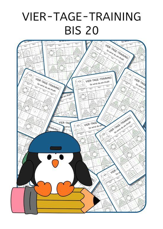Vier-Tage-Mathe-Training, Zahlenraum bis 20, Arbeitsblatt Mathe bis ...