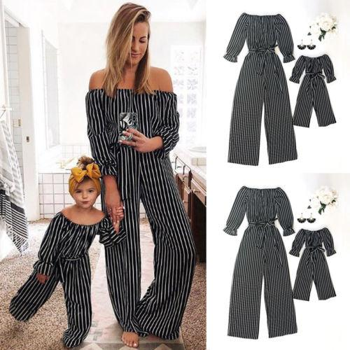 Family Clothes Mom Women Baby kid Girl Off Shoulder Jumpsuit Romper Belt Outfits