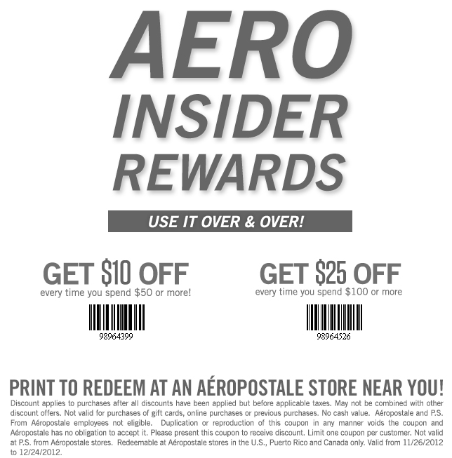 image about Aeropostale Printable Coupon identify $10 off $50 and even more at Aeropostale coupon by The Discount codes