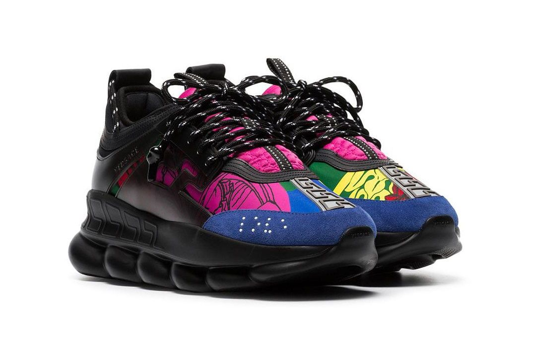 200199114e5f9 Versace chain reaction black multicolor sneaker shoe colorway pattern print  822 usd farfetch buy price sale