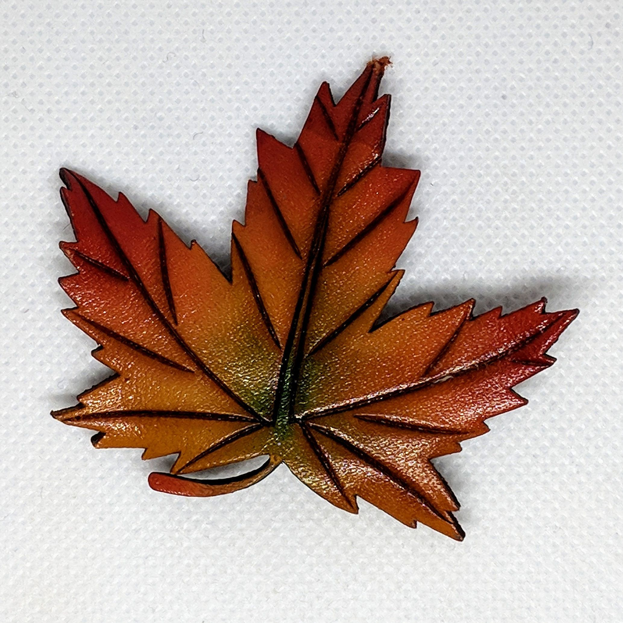 ab67f8006 Maple Leaf Brooch in Fall Autumn Colors Leather Pin Signed MA and Canada  Canadian Jewelry Thanksgiving Brown Orange Red Yellow Green by  InheritedTaste on ...