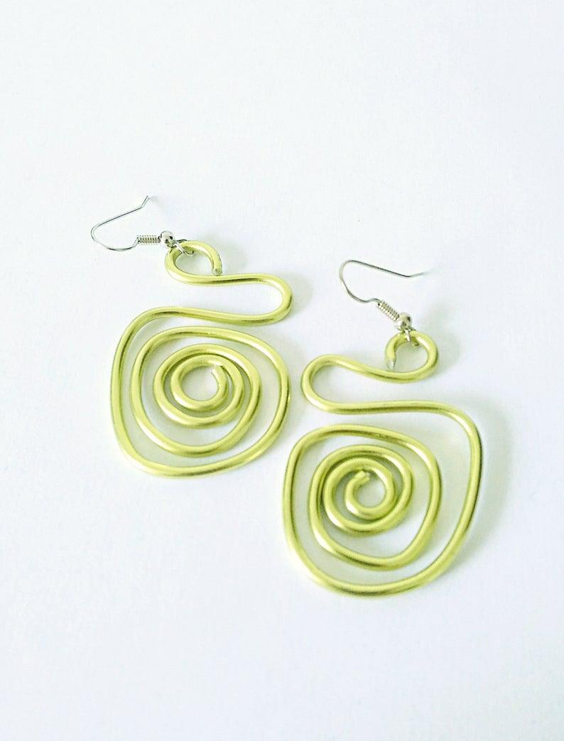 Gift for her Aluminium jewelry Green earrings Dangle earrings Long earrings Aluminium earrings Contemporary jewelry