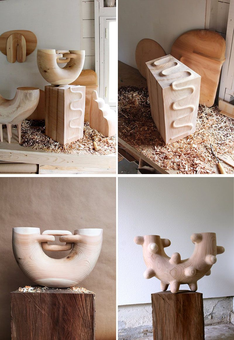 Ariele Alasko Makes These Creative Wood Sculptures And Home Decor Items Abstract Wood Carving Wood Sculpture Carved Wood Sculpture