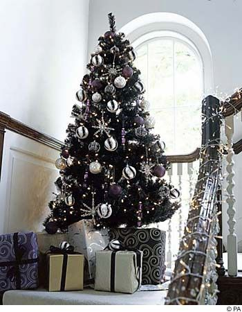 black white silver christmas tree decorations