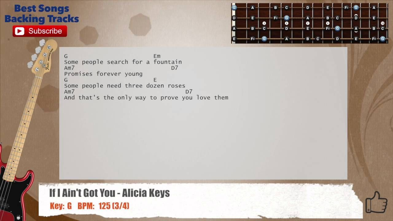 If I Ain T Got You Alicia Keys Bass Backing Track With Chords