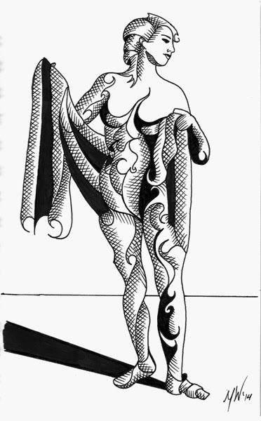 Daily Painters Abstract Gallery: Mark Webster - Adhira 9-15 - Abstract Geometric Futurist Figurative Ink Drawing