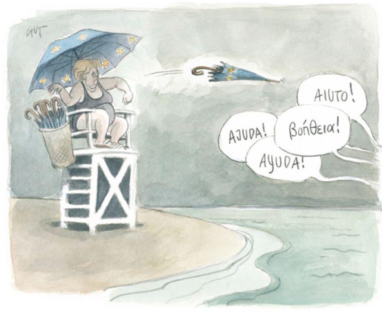 """Euro-Rettungsschirm - Karikatur von Peter Gut: """"Peter Gut - Alles wird Gut"""""""
