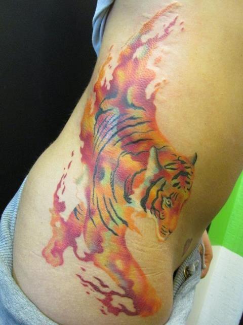watercolor tiger tattoo . love