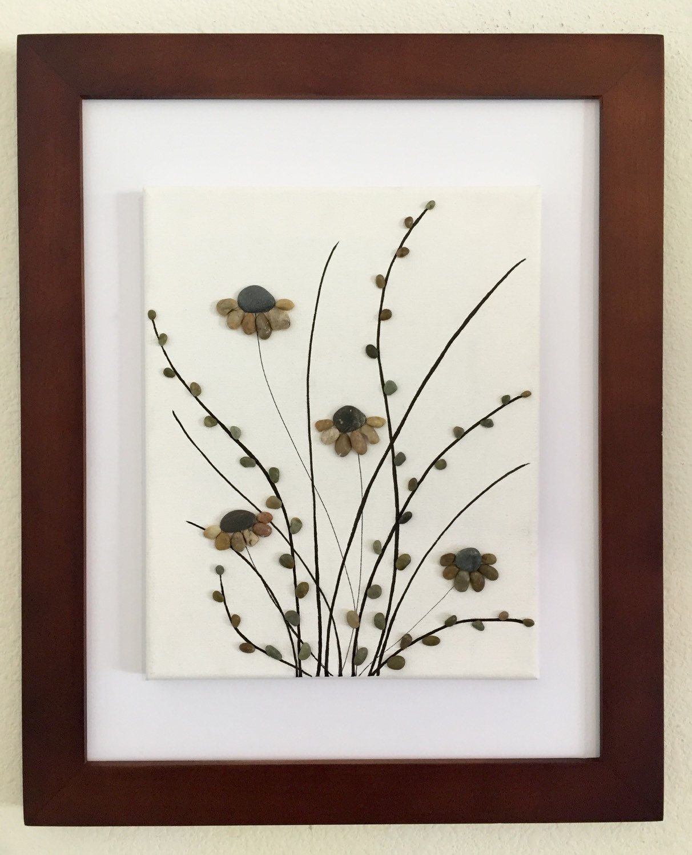 Pebble art, flowers, canvas art, framed art, mixed media collage ...