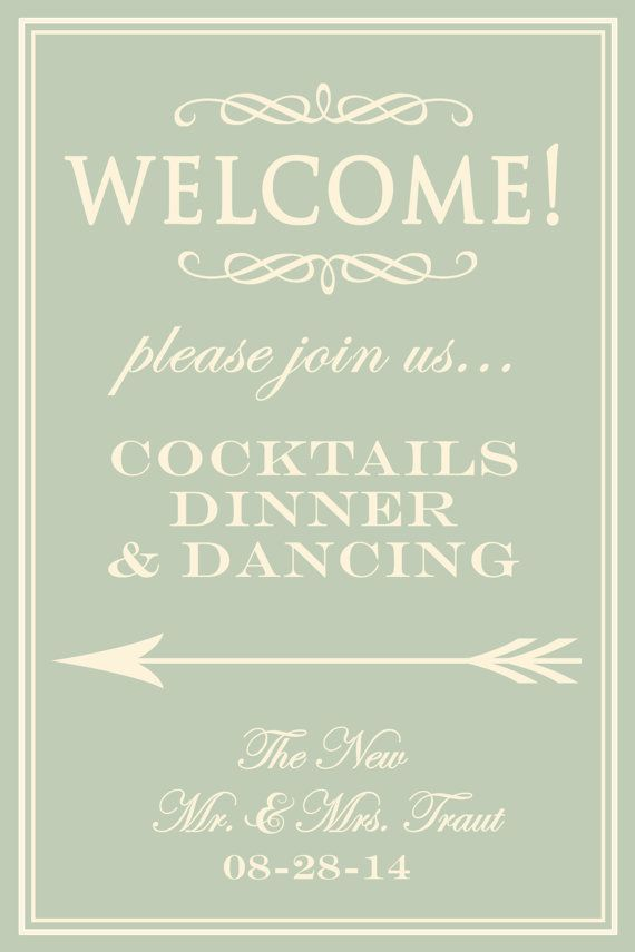 Wedding Reception Welcome Sign Board Poster Diy Directional