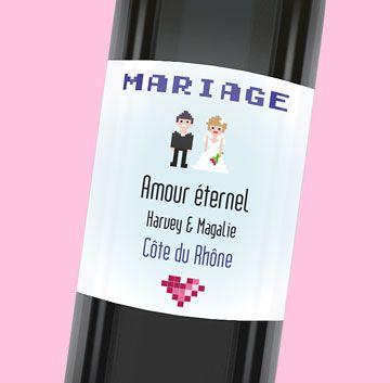 Étiquette de bouteille mariage originale pour fêter votre union, réf.N300655