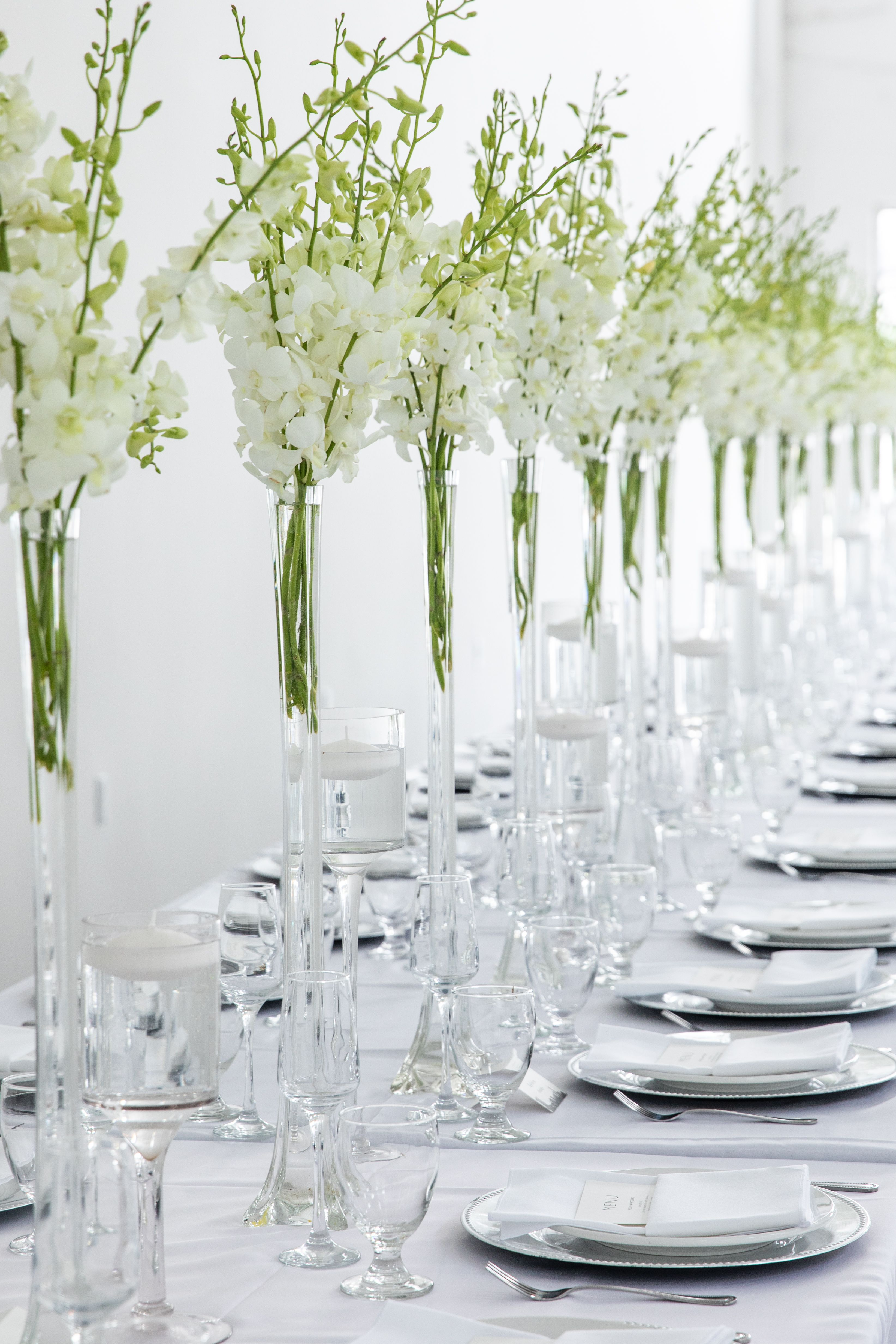 White and greenery wedding centerpieces, clear glass wedding vase ...