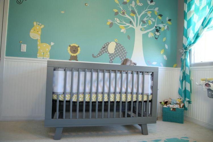 Babyzimmer grau ~ Baby und kinderzimmer wände graue skyline wandtattoos