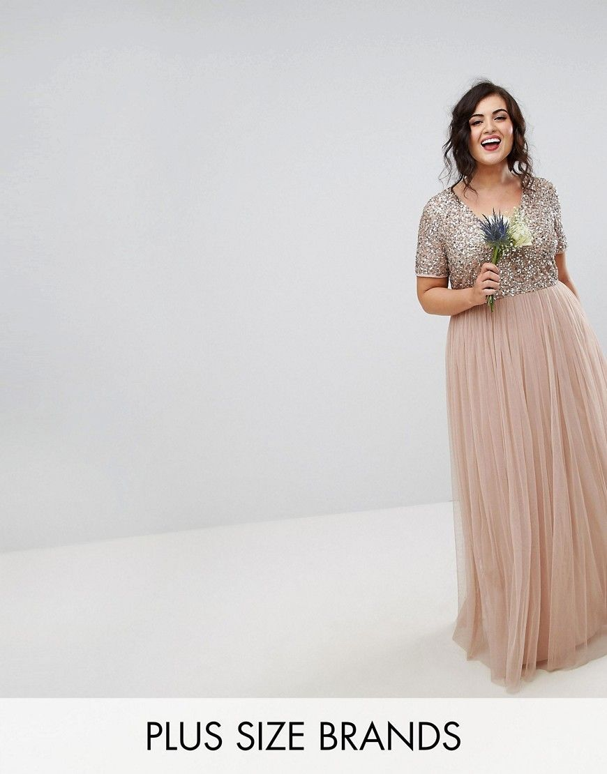 a65a384a6badb Maya Plus V Neck Maxi Tulle Dress with Tonal Delicate Sequins - Brown