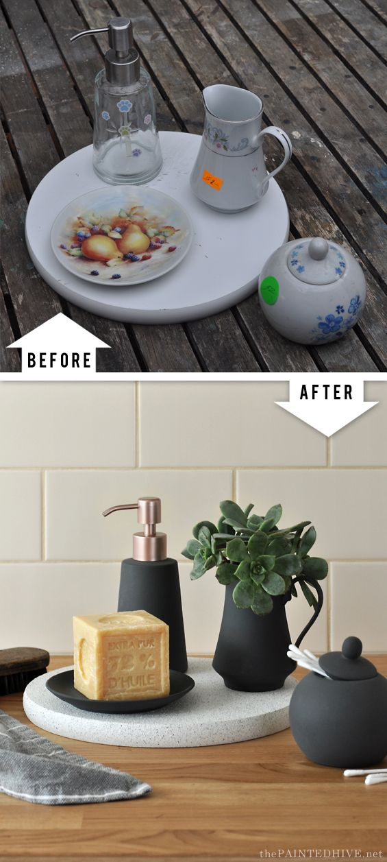 Easy Trash to Treasure Upcycle…using spray paint! lazy susan saucer pump dispenser pitcher #diyinterior