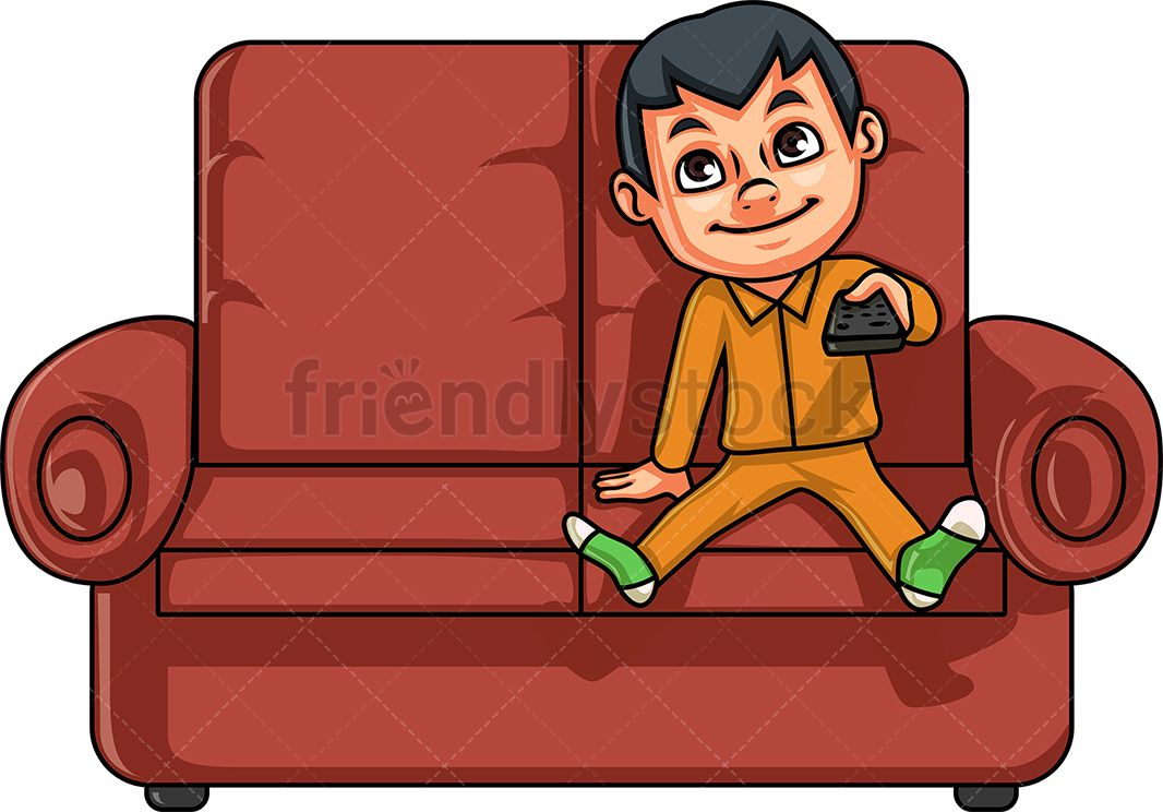 Little Boy Watching Television Cartoon Clipart Vector Friendlystock Cartoon Clip Art Digital Art Design Kids Clipart