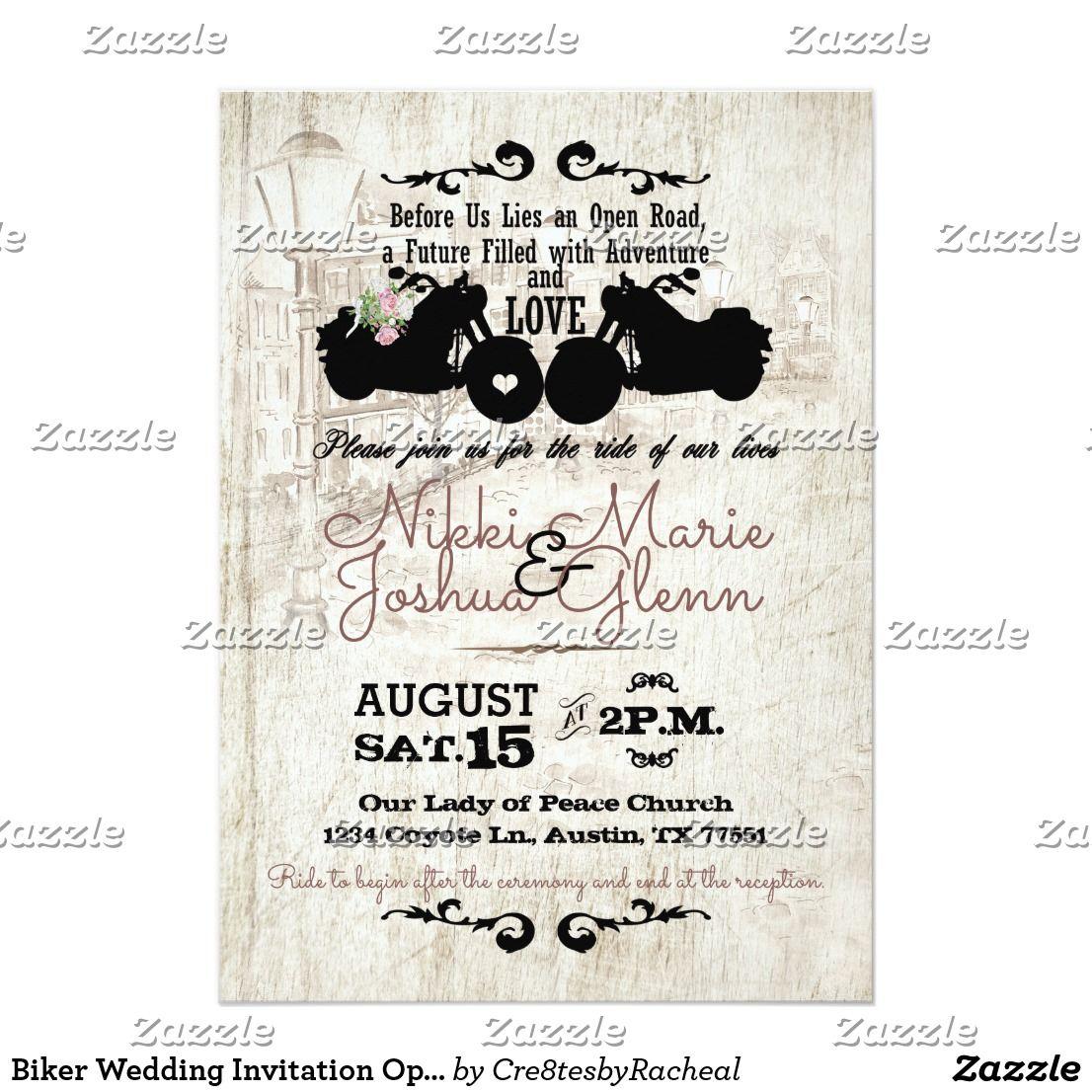 Biker Wedding Invitation Open Road Adventure Zazzle Com Biker