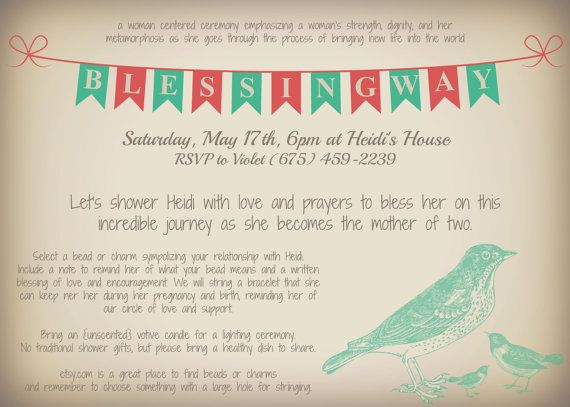 Bird Accent Customizable Printable Blessingway Invitation