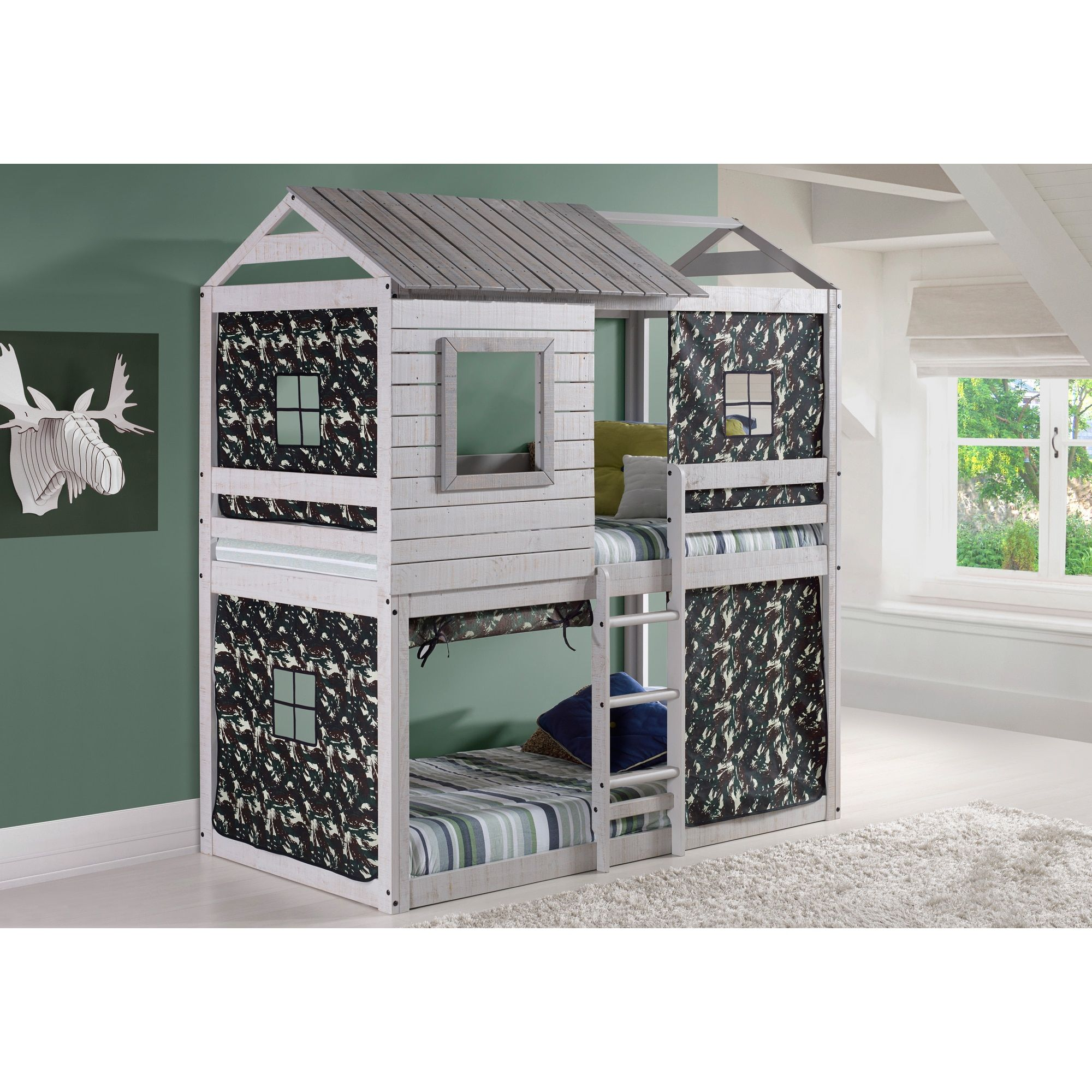 Donco Kids Loft-Style Light Grey Twin-over-Twin Bunk Bed with Green Camo Tent Kit (Camo - Twin over Twin)  sc 1 st  Pinterest & Donco Kids Loft-Style Light Grey Twin-over-Twin Bunk Bed with ...