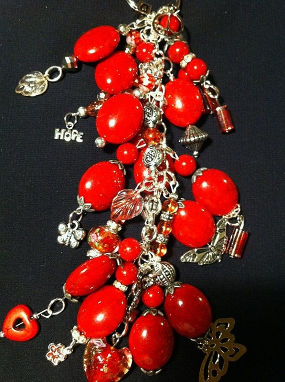 charm key chains color RED by momskeychains on Etsy, $15.00