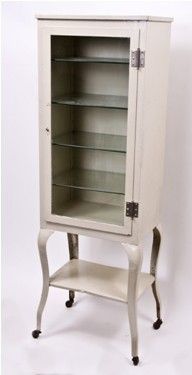 Early 20th Century Vintage Enameled Steel Medical Cabinet With Glass Shelves