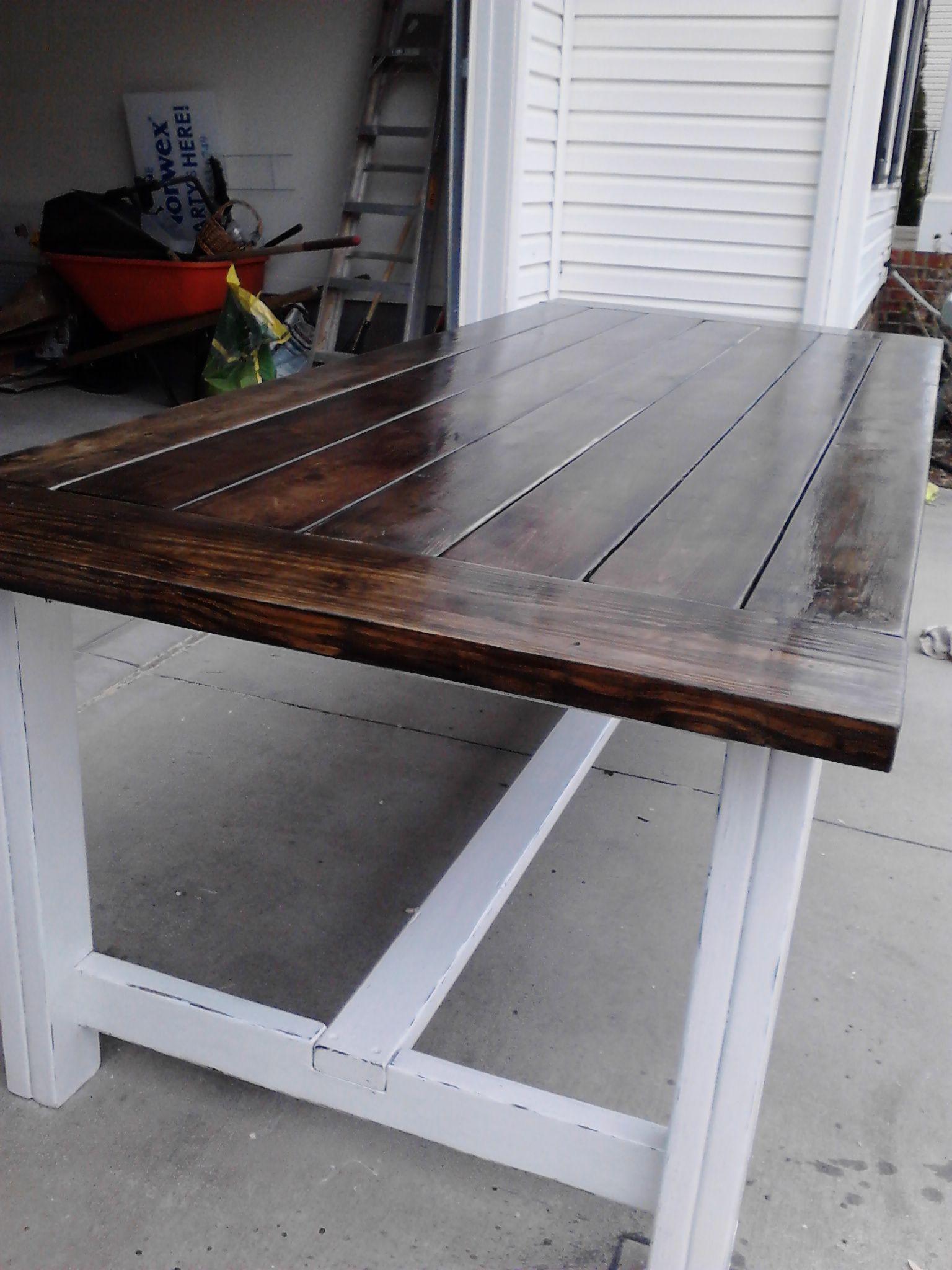 Tea Steel wool and Vinegar stain plus Anna White s farm table