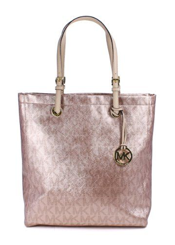 bbd02c1fdf3b Michael Kors Jet Set NS Tote MK Signature Rose Gold Saffiano Shoulder Bag  $187.99