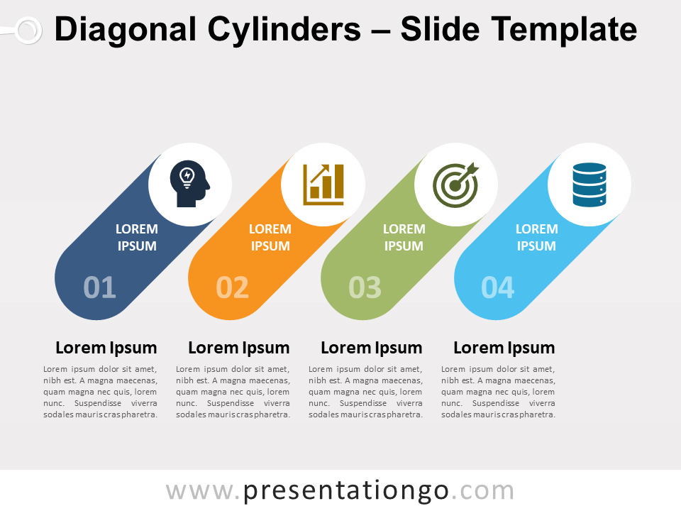 Diagonal Cylinders For Powerpoint And Google Slides Presentationgo In 2021 Powerpoint Google Slides Powerpoint Design