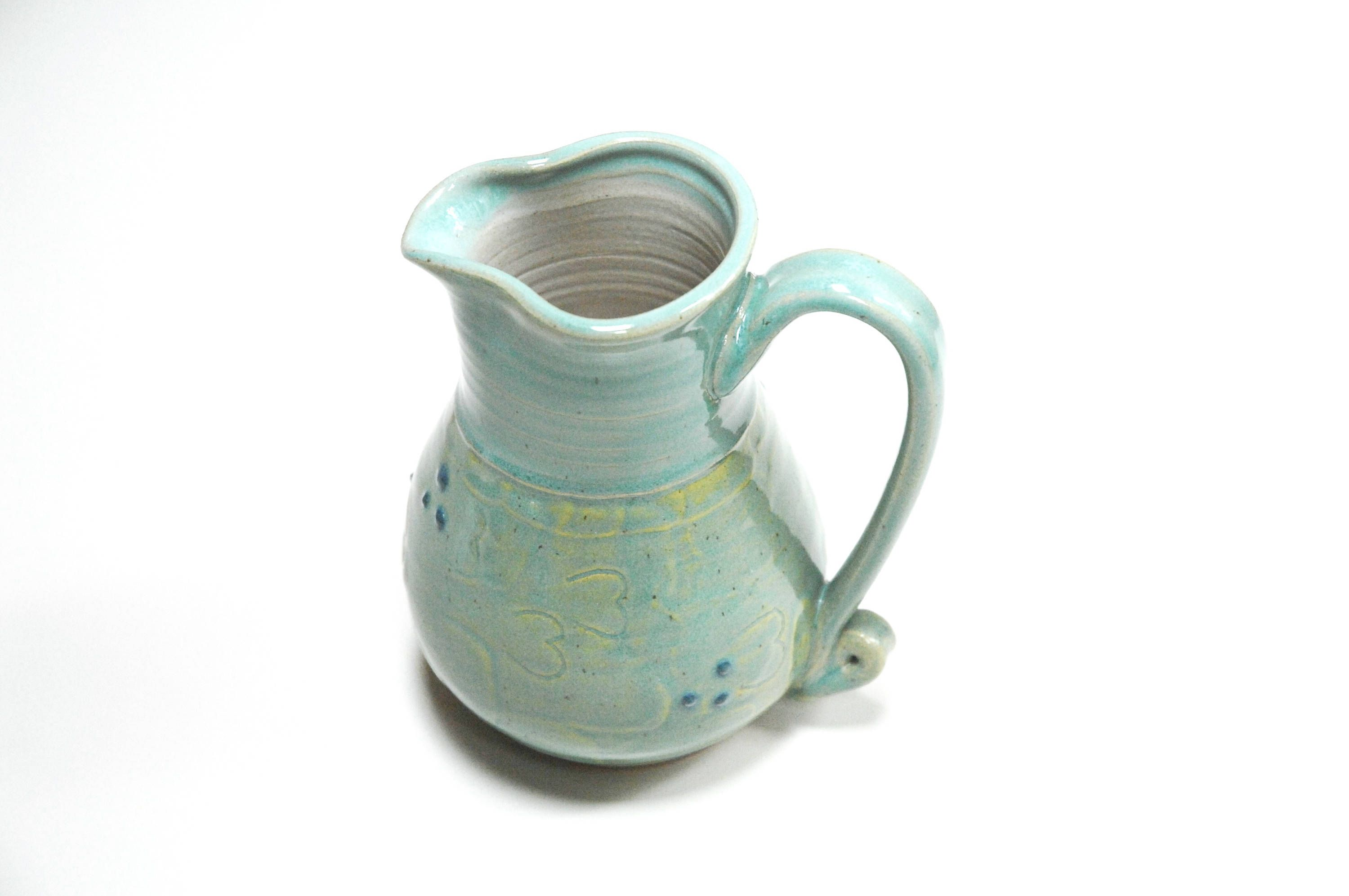 Green Pottery jug,Clay pouring jug,large gravy boat,Large