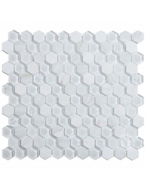 Hexagon Living 1x1 White Glass And Marble Mosaic Tile Mosaic Tiles Marble Mosaic