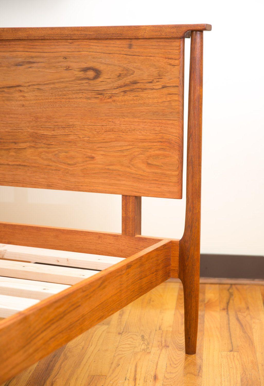 Platform bed, Scandinavian Design Walnut Platform Bed, Mid