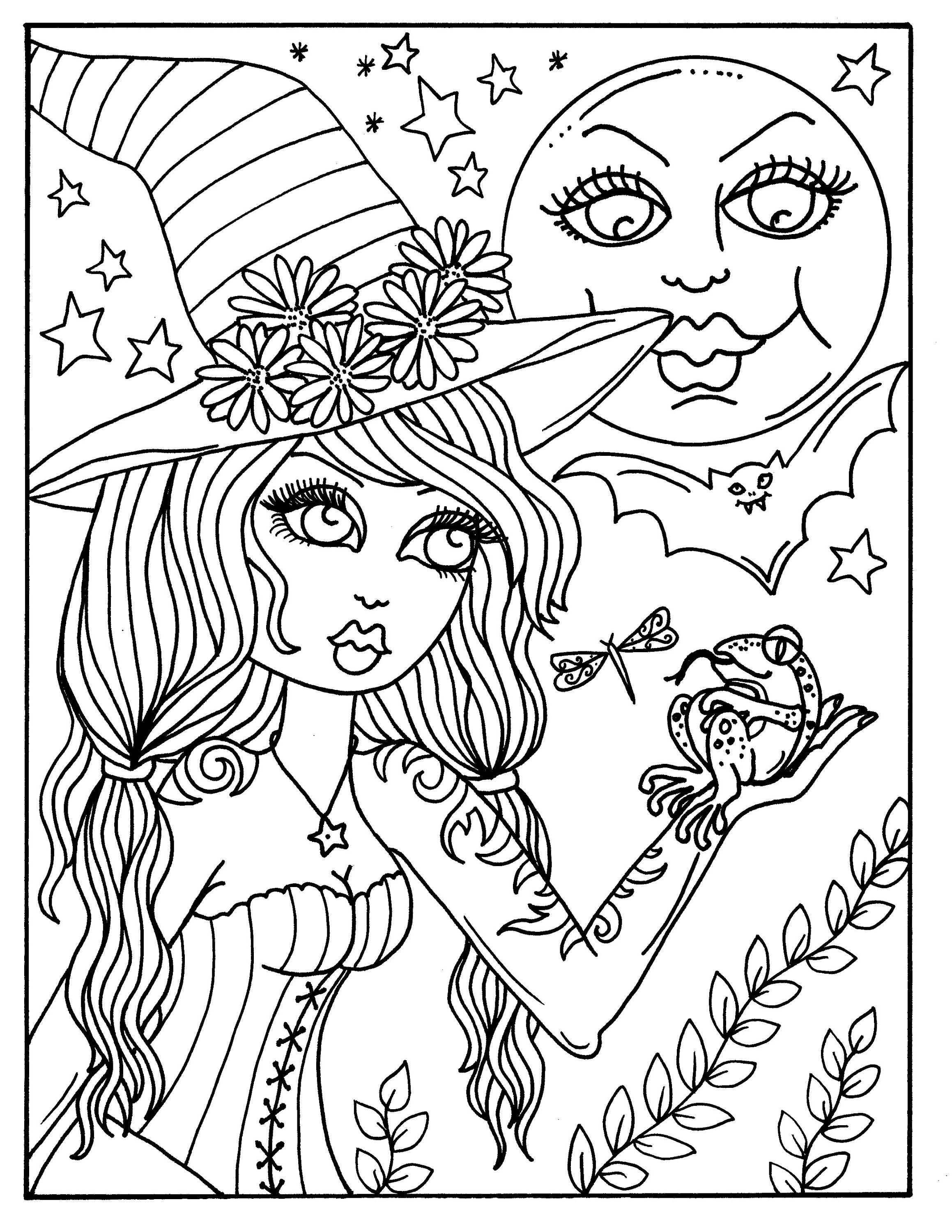 Hocus Pocus Witches Printable Coloring Pages For Adults Etsy Witch Coloring Pages Fairy Coloring Pages Fall Coloring Pages