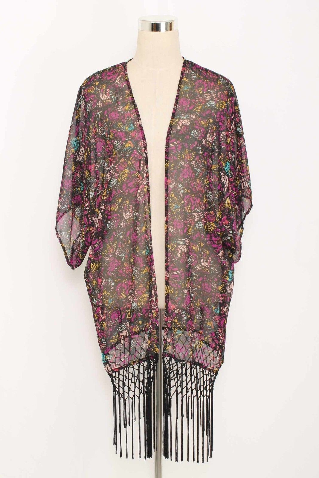 WAYF Nordstrom Purple Printed Fringed Duster Size XS/S 1635 L1015